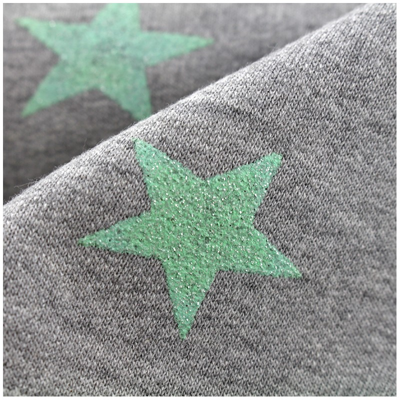 tissu sweat l ger etoile glitter vert d 39 eau x 10cm ma. Black Bedroom Furniture Sets. Home Design Ideas