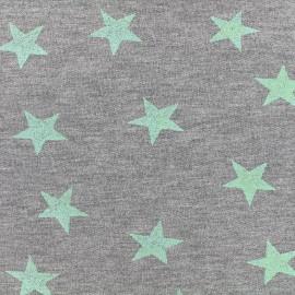 Tissu sweat léger Etoile Glitter - vert d'eau x 10cm