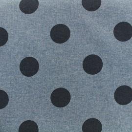 Tissu sweat Gros pois - denim x 10cm