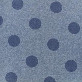 Tissu sweat Gros pois - bleu x 10cm