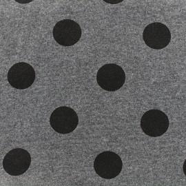 Tissu sweat Gros pois - anthracite x 10cm