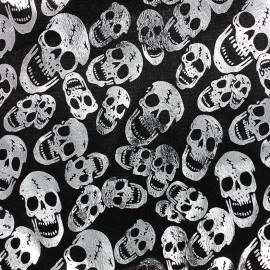 Strucked velvet fabric Skull - silver x 10cm