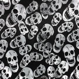 Tissu velours frappé Skull - argent x 10cm
