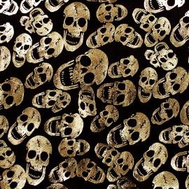Strucked velvet fabric Skull - gold x 10cm