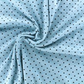 Tissu jersey viscose chiné petit pois - marine/azur x 10cm