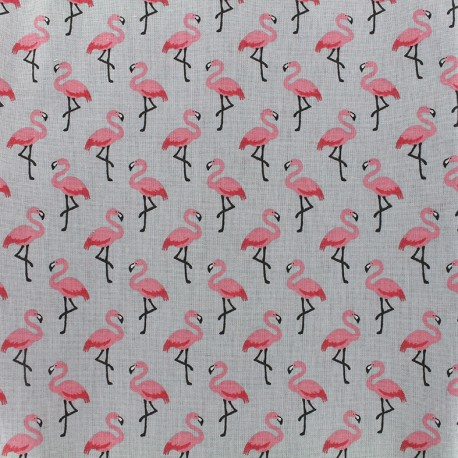 Coated cotton fabric Flamingo - grey/pink x 10cm
