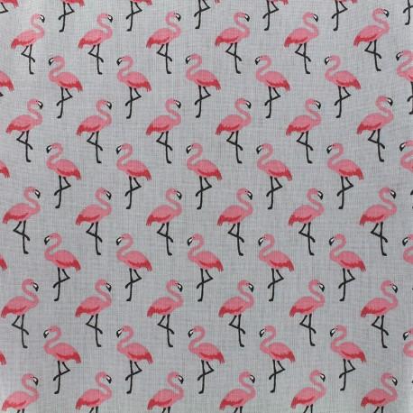 Tissu enduit coton Flamingo - gris/rose x 10cm