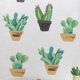 Tissu enduit coton Cactus - ivoire/vert x 10cm