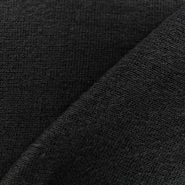 Light stitched wool fabric  - black x 10cm