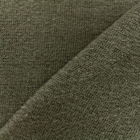 Light stitched wool fabric  - khaki x 10cm