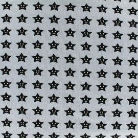 Poppy jersey fabric Friendly Star - grey blue x 10cm