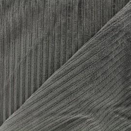 Tissu velours minkee à côtes gris x10cm