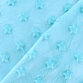 Tissu velours minkee doux relief à étoiles aqua x 10cm