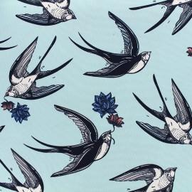 Tissu Gabardine Lycra légère Hirondelle - bleu ciel x 10cm