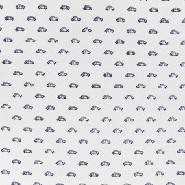 Tissu popeline Mini Cars - écru x 10cm