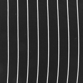 Tissu crêpe Rayures blanches - noir x 10cm