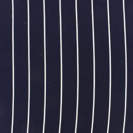 Tissu crêpe Rayures blanches - marine x 10cm