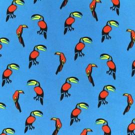Tissu crêpe Tropical birds - bleu x 10cm