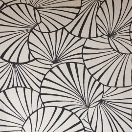 Tissu toile jacquard Nympheas - noir fond ficelle x 30cm