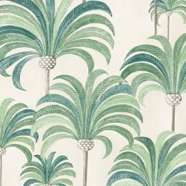 Tissu coton bachette Palmeraie - vert tropical fond crème x 62cm