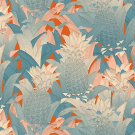 Tissu percale d'ameublement (280cm) Tropical Klang - bleu fond orange x 62cm
