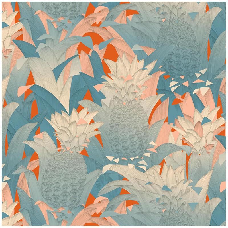 Tissu percale d 39 ameublement tropical klang bleu fond - Edmond petit tissus d ameublement ...