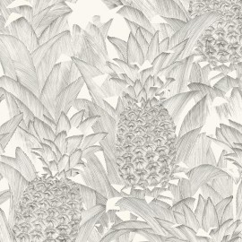 Percale cotton Fabric Tropical Klang - black on cream x 62cm
