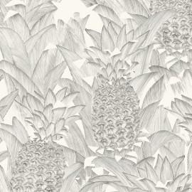 Tissu percale d'ameublement Tropical Klang - noir fond crème x 62cm