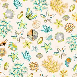 Tissu enduit coton Les Cyclades - orange/anis x 62cm