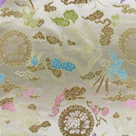 Satiny jacquard Fabric Jardin d'Asie - gold x 10cm