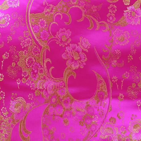 Satiny jacquard Fabric Fleurs de cerisier - fuchsia x 10cm