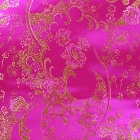 Tissu jacquard satiné Fleurs de cerisier - fuchsia x 10cm