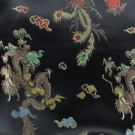 Tissu jacquard satiné Dragon Impérial - noir x 10cm