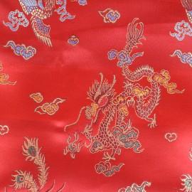 Tissu jacquard satiné Dragon Impérial - rouge x 10cm