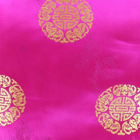 Tissu jacquard satiné Belle Chine - fuchsia x 10cm