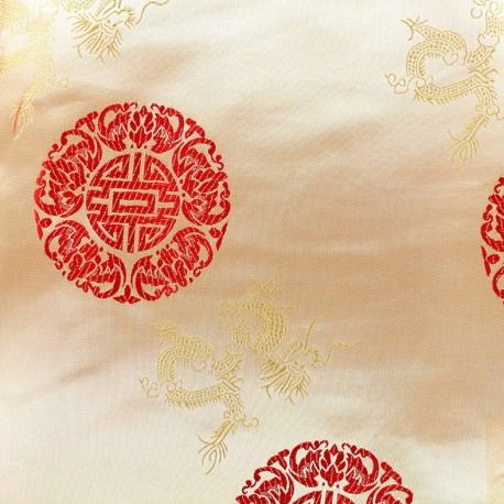 Satiny jacquard Fabric Belle Chine - gold x 10cm