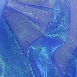 Iridescent organza Sirène fabric - royal blue x 50cm
