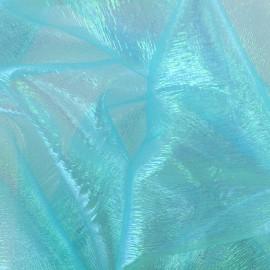 Iridescent organza Sirène fabric - frozen blue x 50cm
