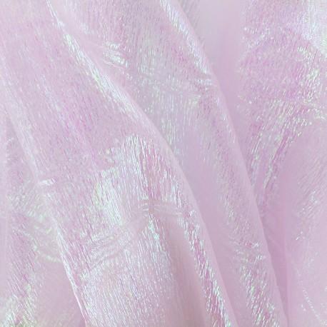 Iridescent organza Sirène fabric - pink x 50cm