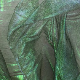 Iridescent organza Sirène fabric - dark green x 50cm