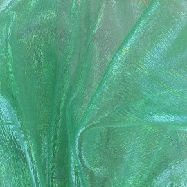 ♥ Coupon 50 cm X 130 cm ♥ Iridescent organza Sirène fabric - green