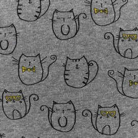 Quilted jersey fabric Mr Cat - grey x 10cm