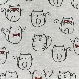 Quilted jersey fabric Mr Cat - ecru x 10cm