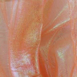 Iridescent organza Sirène fabric - orange x 50cm