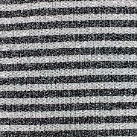 Stitched lurex jersey fabric stripes - black x 10cm