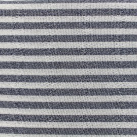 Stitched lurex jersey fabric stripes - blue x 10cm