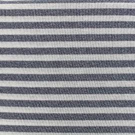 Tissu jersey maille lurex rayures - bleu x 10cm