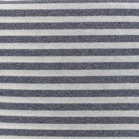 Stitched lurex jersey fabric stripes - blue x 10cm
