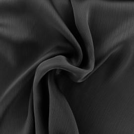 Tissu crêpe froissé - noir x 10cm