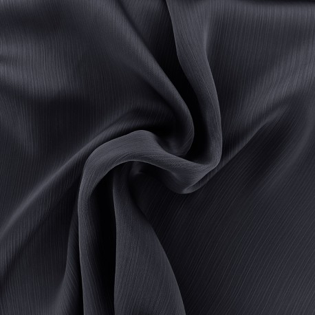 Tissu crêpe froissé - marine x 10cm